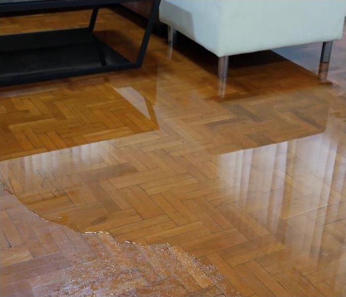 interior wood floor partially submerged in water